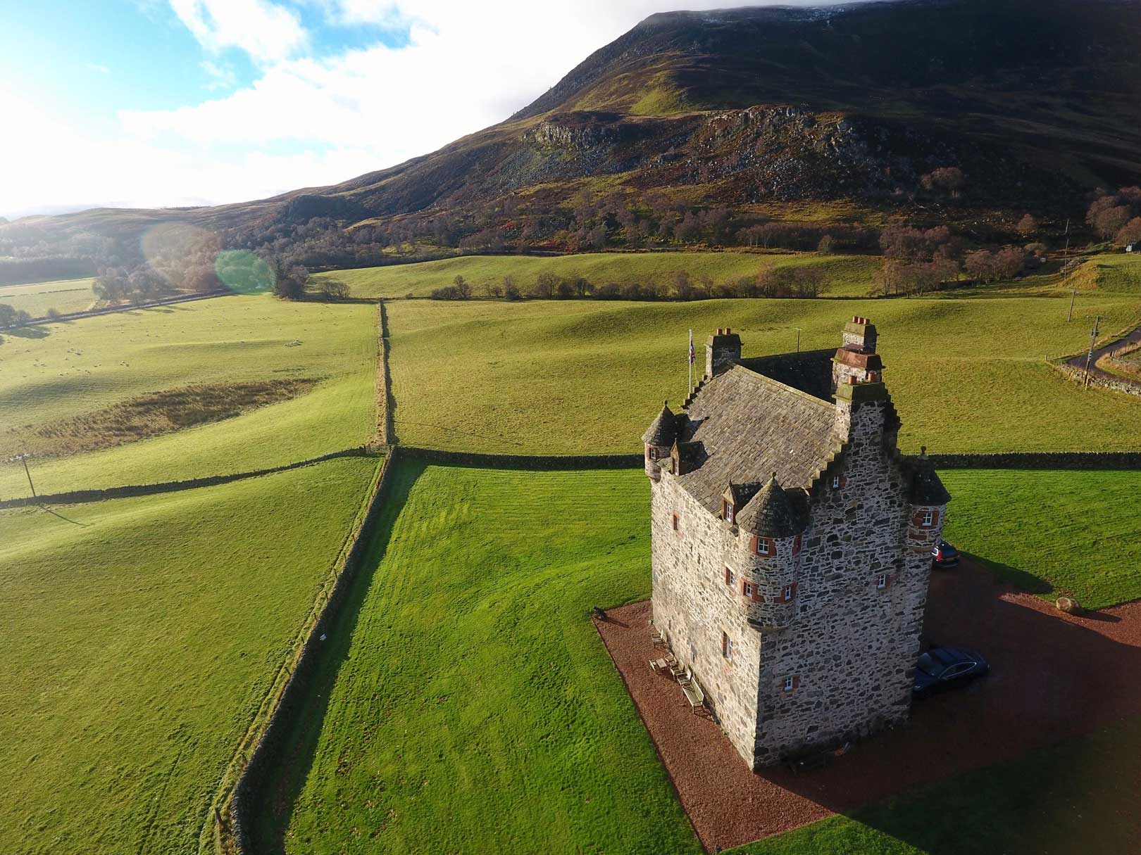 Stunning aerial shot of Forter Castle