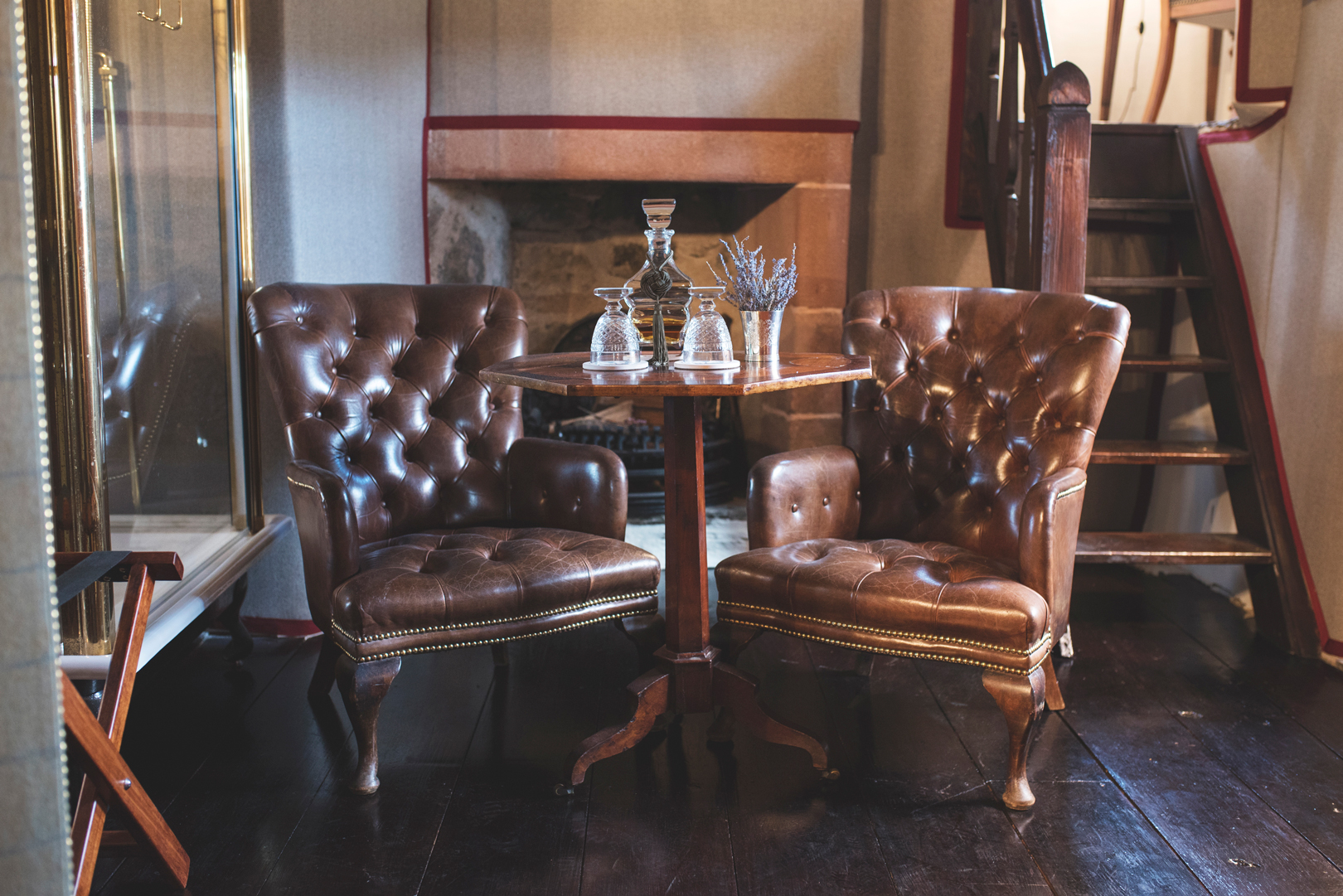 Leather chairs in castle
