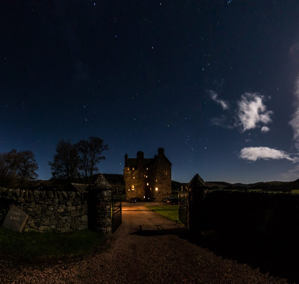 Forter Castle at night time.